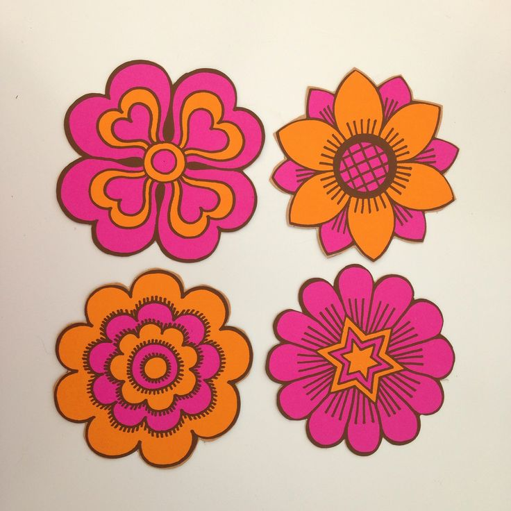 original 1970s flower power stickers