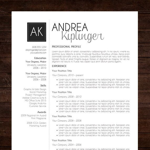resume template cv template word for mac or pc professional cover letter creative modern black initials the andrea - Professional Resume Samples In Word Format