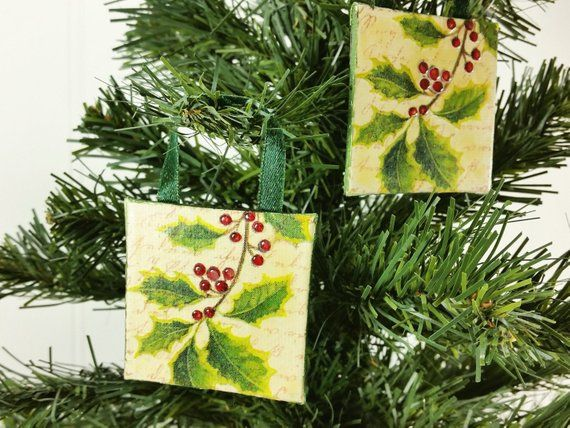 Holly Berries Ornament, 2x2 Inch Winter Miniature Art Red  Green