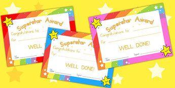 Superstar Award Certificates - behaviour management, certificate
