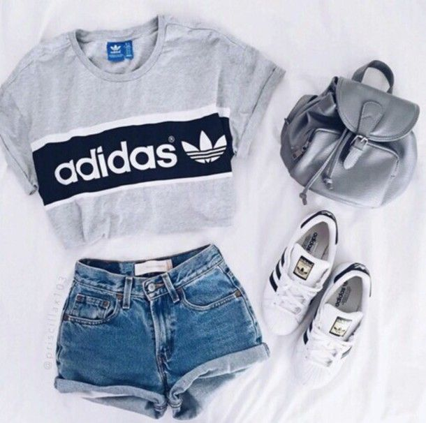 Shirt: adidas t- top addidas grey t- denim shorts adidas top crop tops shorts high waisted shorts