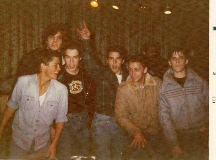 Rob Lowe, Darren Dalton, Adam Baldwin, Tom Cruise, Emilio Estevez and C. Thomas Howell at the auditions for The Outsiders.