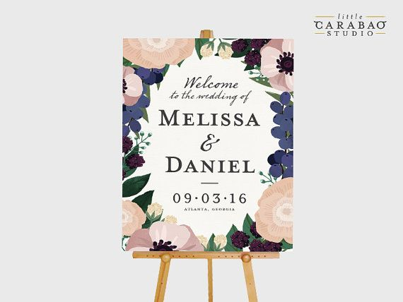 DIGITAL Wedding Welcome Sign Floral by littlecarabaostudio on Etsy