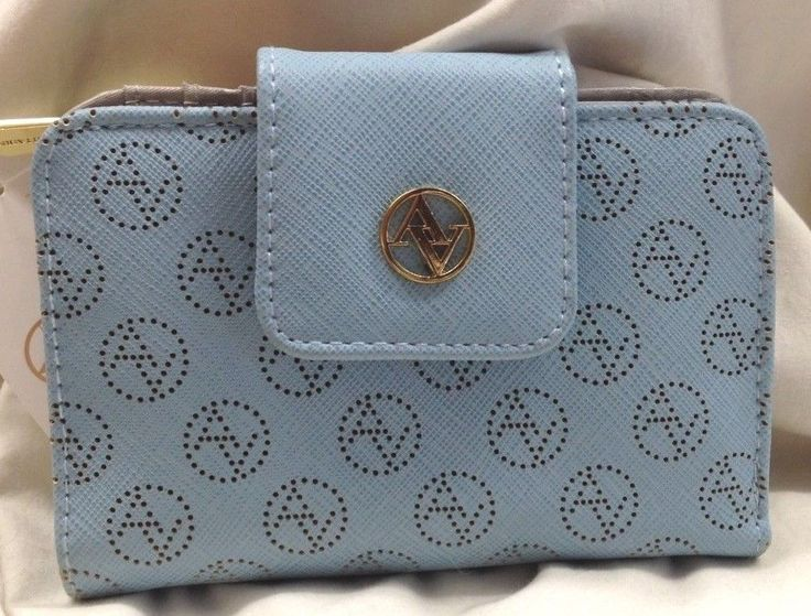 ADRIENNE VITTADINI STUDIO WOMENS BLUE LAZER CUT BIFOLD WALLET FAUX LEATHER NWT! #AdrienneVittadini #WALLET
