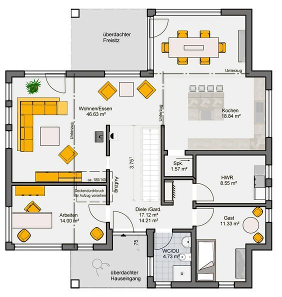 fertighaus rubitano grundriss eg wohnung pinterest bauhaus house and bungalow. Black Bedroom Furniture Sets. Home Design Ideas