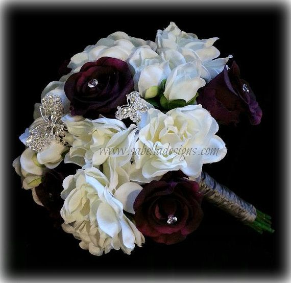 Real Touch Bridal Flower Bridesmaid Bouquet Groom Boutonniere Romantic Gardenia Rose Burgundy Rhinestone Ivory White Classic Wedding Flowers on Etsy, $239.99