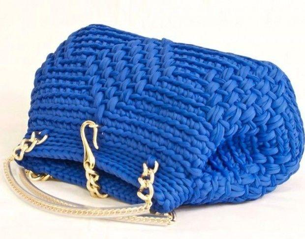 örgü zincir saplı saks mavi el çantası