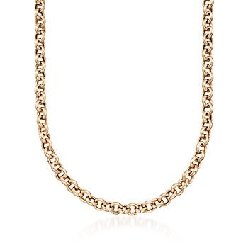 """14kt Yellow Gold Over Sterling Silver Rolo-Link Necklace. 18"""""""