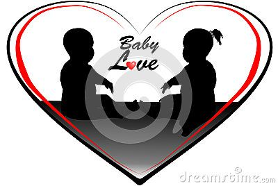 Silhouette of two babies in red and black heart shapes with text graphics baby love.