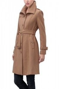 Wool jackets women  BGSD Signature Women's 'Troian' Wool Blend Belted Trench Coat – Camel S Big SALE