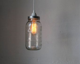 Half Gallon Mason Jar Light Ball Mason Jar Pendant Table Top Light - Dual Purpose UpCycled BootsNGus Lighting Fixture