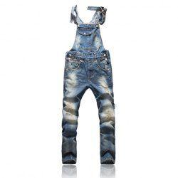 $34.67 Korean Fashion Sunshine Boy Blue Denim Overalls For Men
