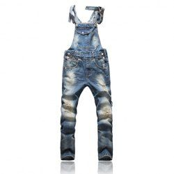 $34.67 Korean Fashion Sunshine Boy Blue Denim Overalls For Men