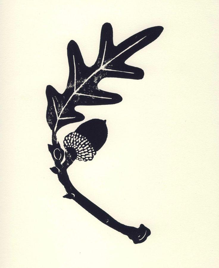 8 x 10 Botanical Linocut, Black and White Acorn & Oak Leaf. $30.00, via Etsy.
