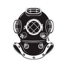 Deep Sea. Old style diver helmet isolated on white background vector art illustration