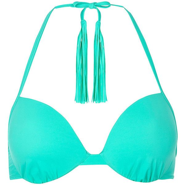 Dorothy Perkins Green Long Tassle Plunge Bikini Top ($7.69) ❤ liked on Polyvore featuring swimwear, bikinis, bikini tops, green, green bikini top, tankini tops, green bikini, tassel swimsuit top and bikini top