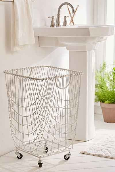 Durable looking laundry basket design | Tike Wire Rolling Hamper - Urban Outfitters