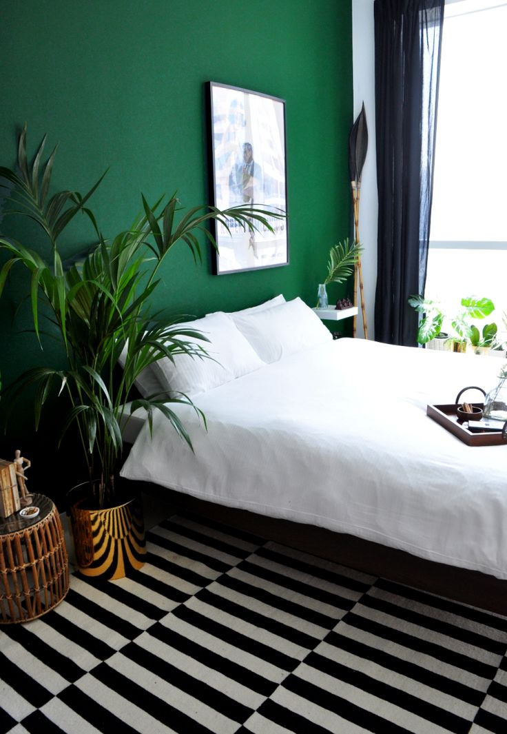 Bringing the outside in is a huge trend for interiors; we first saw this with the resurgence of house plants, but this has now transcended into the use of green as a key colour for home décor and accessories. Green bedroom design idea 19.