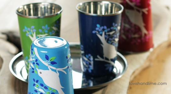 More beautiful, non-leaching stainless steel cups hand painted by Kashmiri craftspeople. www.lavishandlime.com/Stainless-Steel-Cup-hand-painted-eva-bird-p-1489.html#