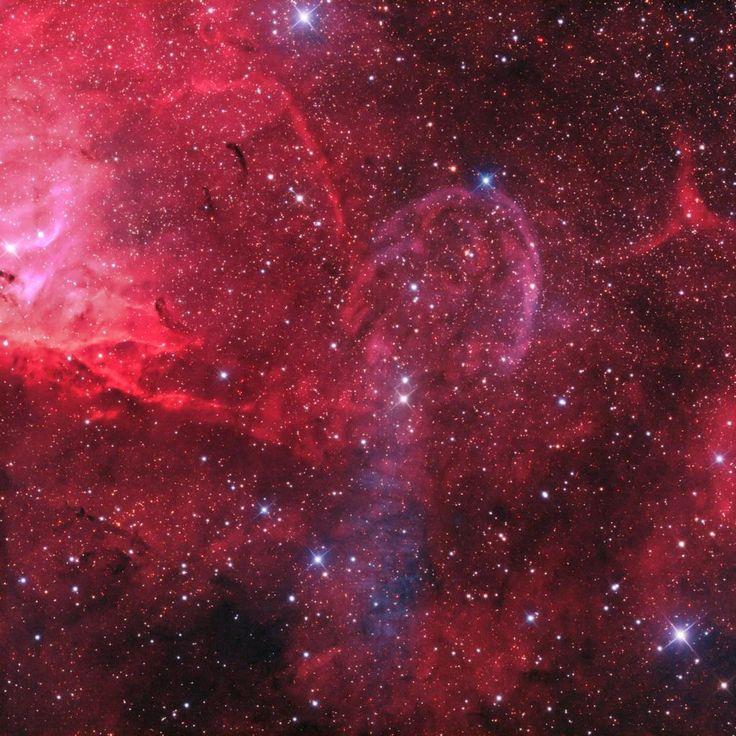 Nebulosas alrededor de Cygnus X-1. Es la más brillante de las dos estrellas en Cygnus. Pertenece a un sistema binario, e incluye una estrella variable azul supergigante orbitando un agujero negro. Un par de chorros crean una onda de choque. No es una nebulosa planetaria ni remanente de supernova. Cygnus X-1 es un microquasar. El área brillante a la izquierda es parte de la Nebulosa del Tulipán (Sh2-101). El chorro sur aún no se ha definido. Tiene una estructura con crestas oscuras y claras.