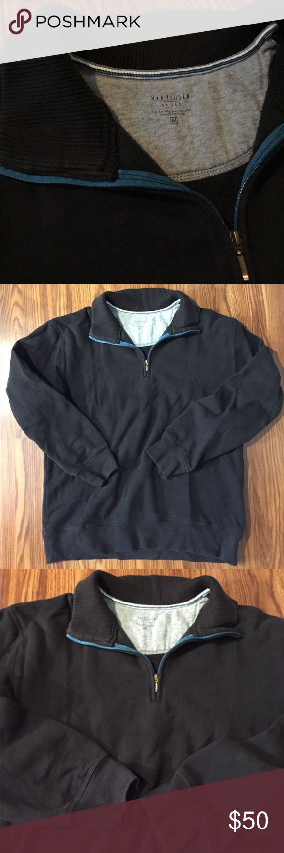 Van Heusen pullover zip up sweater sweatshirt Like-New Van Heusen zip up sweater with collar. Doesn't fit me anymore. Black color with blue rim near the neck/collar area. Really nice for a semi-casual setting. Very warm with good quality material. No damage or stains whatsoever. Shoot me an offer Van Heusen Sweaters Zip Up