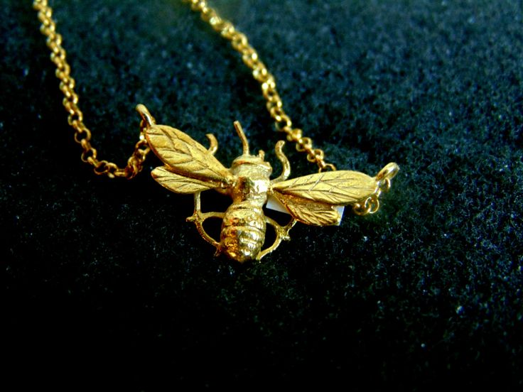 Silver Bee Necklace,Gold Plated Sterling Silver Honey Bee Dainty Necklace,Womens Necklace,Gift for Her,Gift Idea,Artisan Jewelry by ArchipelagosBreeze on Etsy