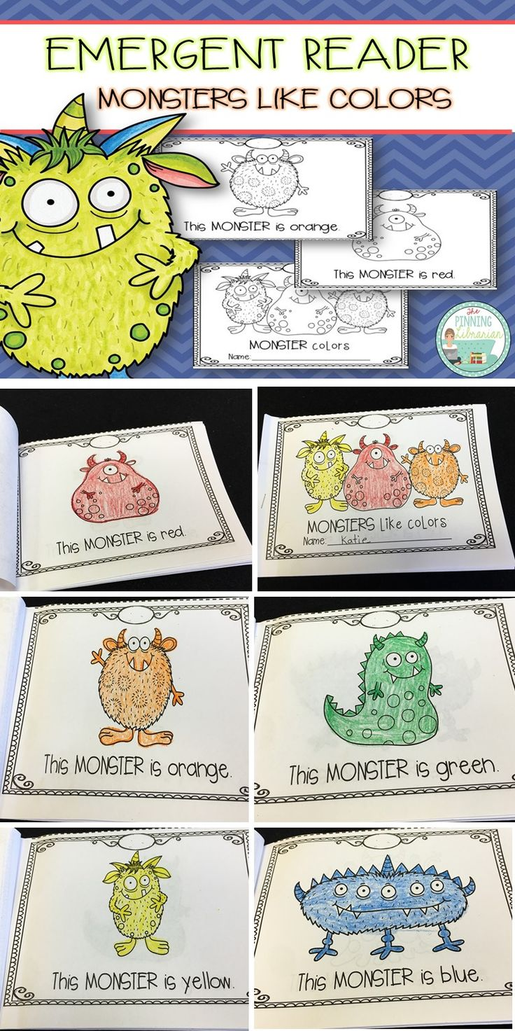 Monsters emergent reader. Students will practice colors and color words with a cute monster theme!