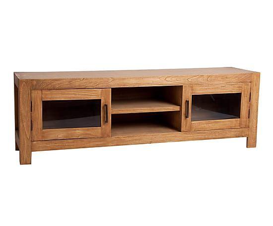Mueble tv en madera de mindi marr n envejecido largo for Mueble 45 cm ancho