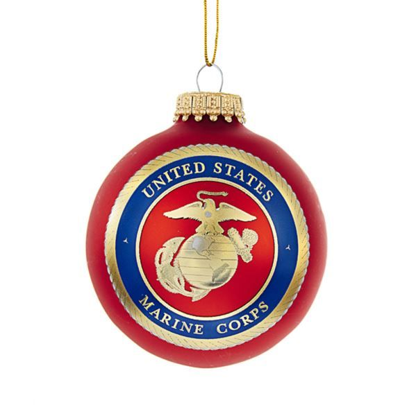 U.S. Marine Corps Emblem Glass Ball Ornament-Honor our brave men and women in the U.S. Marine Corps with this officially-licensed US Marine Corps emblem glass ball ornament by Kurt Adler. Features a red glass ball with the U.S. Marine Corps emblem.
