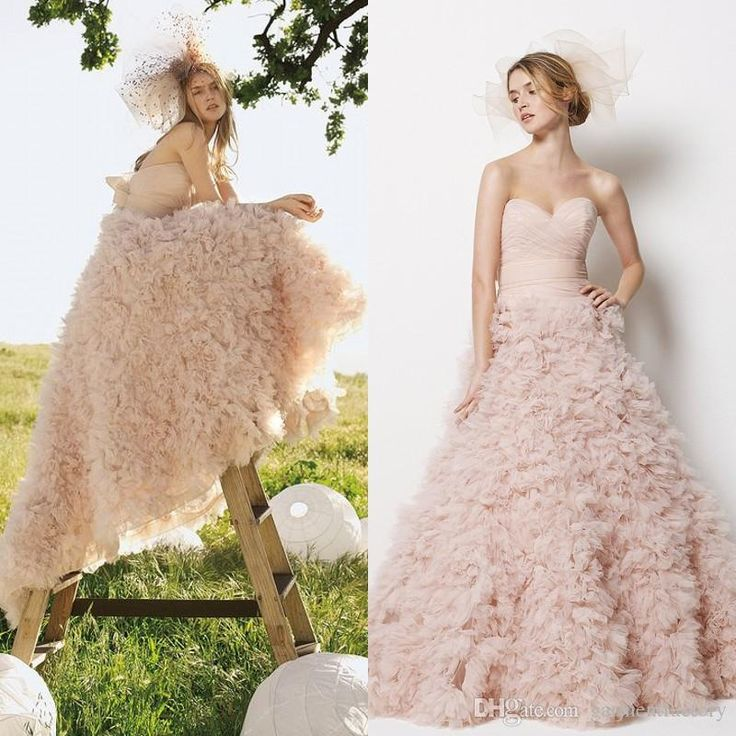 Fancy Monique Lhuillier Blush Pink Wedding Dress Sweetheart Neckline Ruched Bodice Court Train Ball Gown Tulle Wedding Dresses with Bow Sash