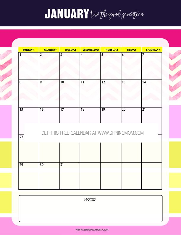 January Calendar Planner : Free printable january calendar set