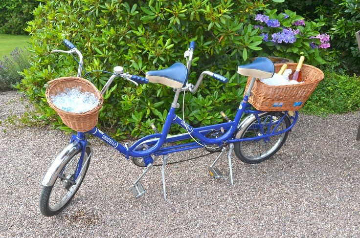 1960/70s Italian Graziella Tandem Vintage Bicycle's baskets used as ice buckets at a Champagne & Croquet hen party provided by www.happyheritage.co.uk