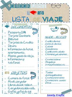Lista de viaje. Checklist. Imprimible para organizar las vacaciones