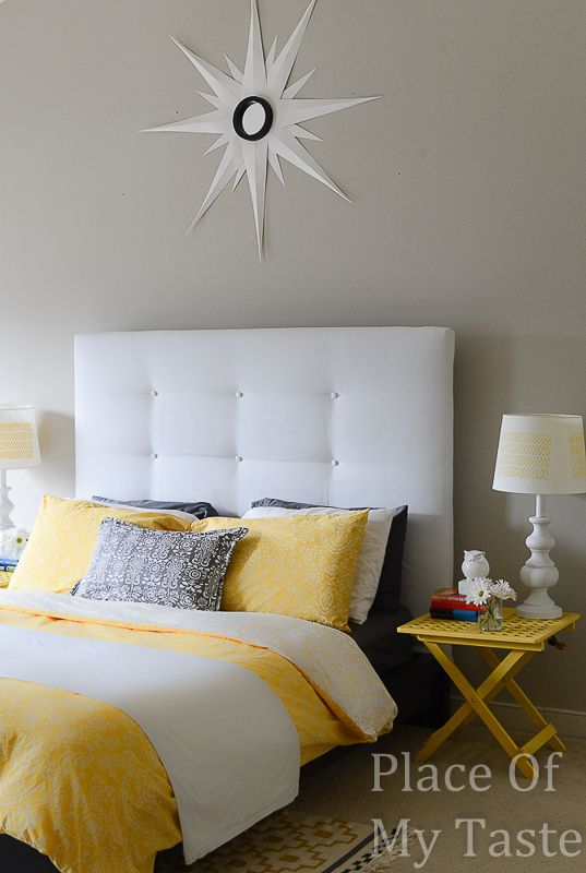 Change the look of your headboard by upholstering it with your favorite fabric choice.