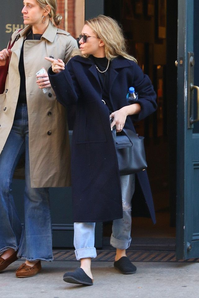 Ashley Olsen wearing blue jacket 2016