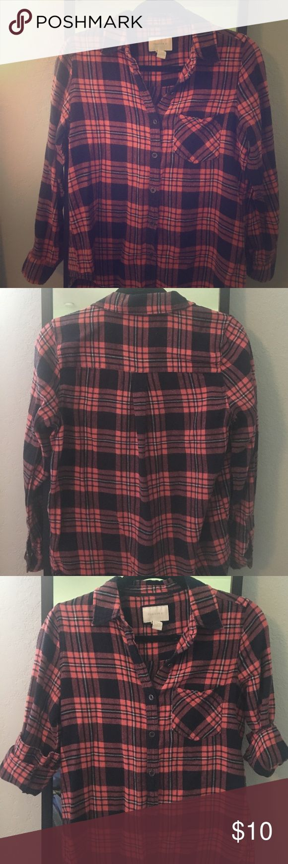 Forever21 blue and orange lightweight flannel Lightweight navy blue and orange (salmon pink)  flannel shirt, cute with white shorts/pants or light denim boyfriend shorts/jeans. Front pocket, button-down. Size Small Forever 21 Tops Button Down Shirts