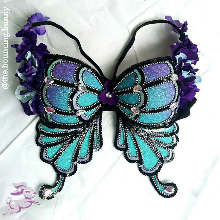 Blue purple butterfly rave bras glitter EDC Outfits ideas festival fashion