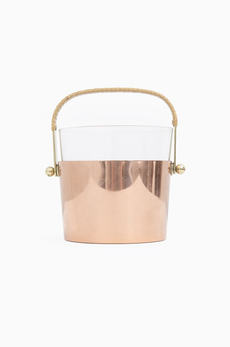 gunnar ander ice bucket in brass and glass, produced by ystad metall