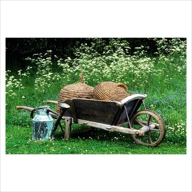 Victorian wooden wheelbarrow bee hives and watering cans