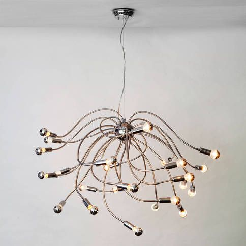 A tactile approach to ceiling lighting this chandelier includes silver bowl bulbs and features pliable metal arms that can be manipulated to fit your