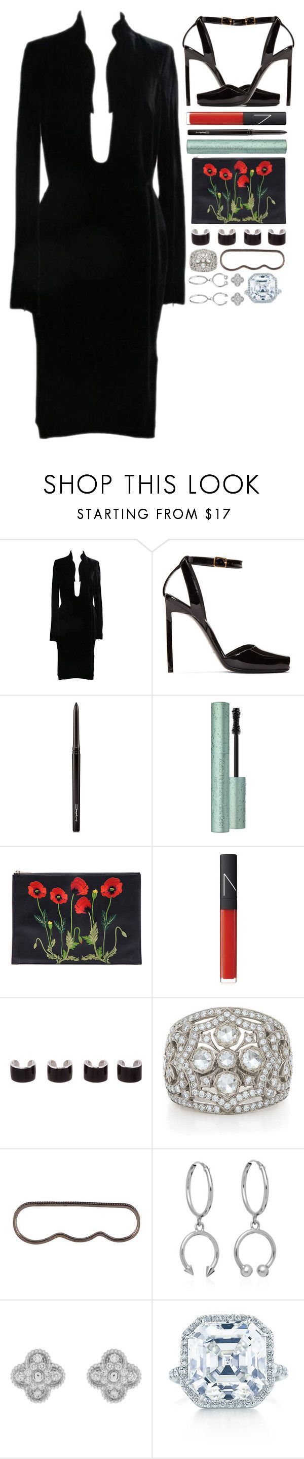 """walking heroine"" by iriskatarina ❤ liked on Polyvore featuring Tom Ford, Yves Saint Laurent, MAC Cosmetics, STELLA McCARTNEY, NARS Cosmetics, Maison Margiela, AS29, Maria Francesca Pepe, Van Cleef & Arpels and Tiffany & Co."