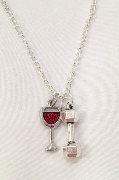 10.99$ Will Lift For Wine (Dumbbell or 25lbs WP) Necklace
