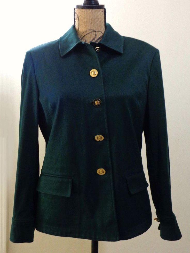ART TO WEAR Lagenlook St John Marie Gray jacket artsy green artsy couture sz M #StJohnMarieGray #BasicJacket #EveningOccasion