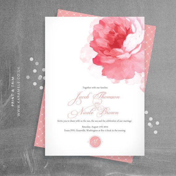 Postal invitación de la boda de peonía y RSVP por KarameleShop