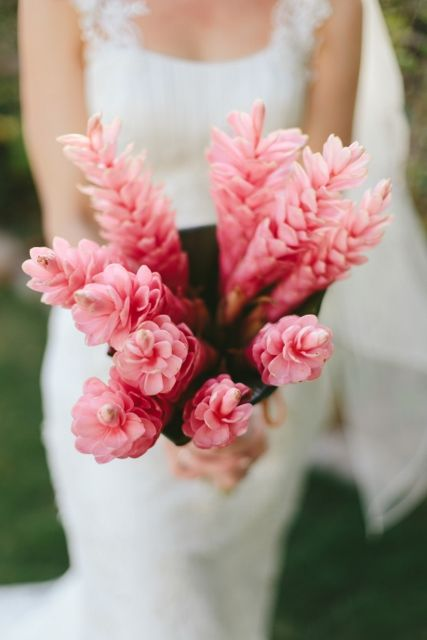 Pink gingers, bridal bouquet