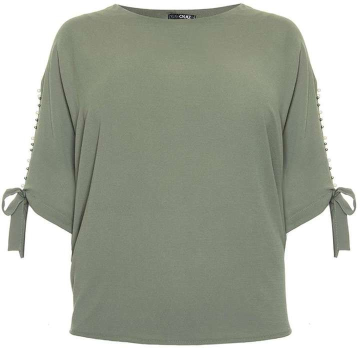 Quiz *Quiz Khaki Split Tie Sleeve Batwing Top
