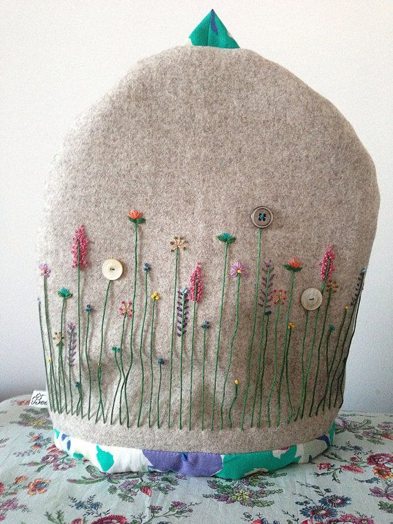 Lambs wool felt embroidered tea cosy by madebybeaonline on Etsy, £45.00