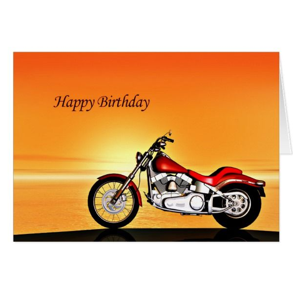 Motorcycle Sunset Birthday Card Zazzle Com With Images