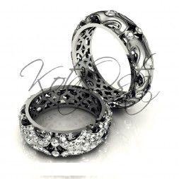 Фантастические обручальные кольца из белого золота с бриллиантами KO-OKB3G