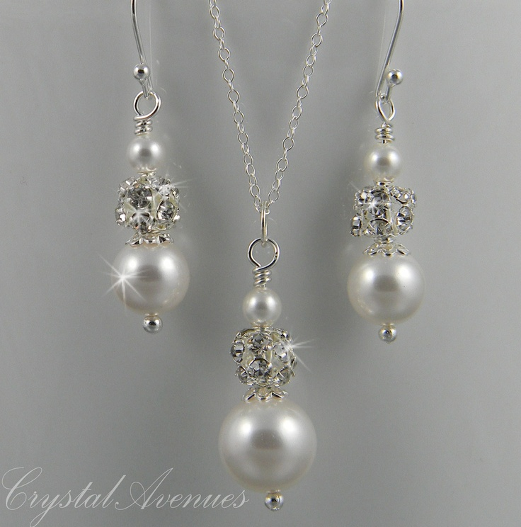 Bridal Pearl Necklace Earrings Wedding jewelry Bridal Jewelry SET sterling silver, Audrey bridal set.
